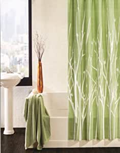 100 percent cotton shower curtain branches off white sage green 72 inch by 72 inch. Black Bedroom Furniture Sets. Home Design Ideas
