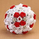 Hestian 8.6'' Luxury DIY Handmade Romantic Silk Roses with Different Styles of Rhinestone Wedding Bouquet Come with a Headdress As a Gift