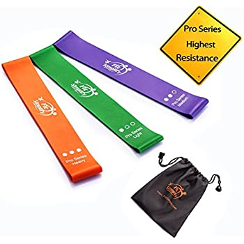 Fit Simplify Resistance Loop Bands Pro Series - Highest Resistance Exercise Bands - Set of 3 Booty Bands - with Instruction Guide, Carry Bag, Ebook and Online Workout Videos