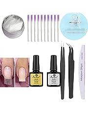 Kit de gel d'extension en fibre de verre, Anself Fiber Nails Outil de salon des ongles de verre Kit Base et couche de finition Gel Vernis à ongles