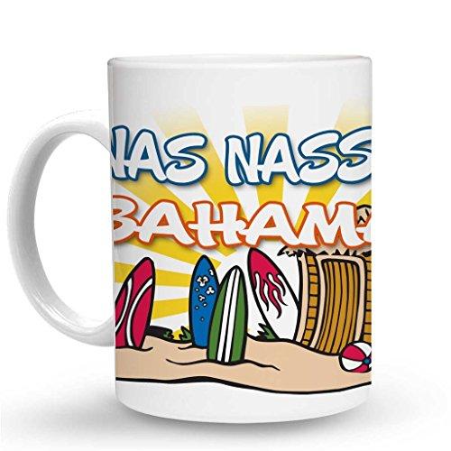 Makoroni - NAS NASSAU BAHAMAS Surf Surfing Mug - 11 Oz. Unique Coffee Mug, Coffee Cup