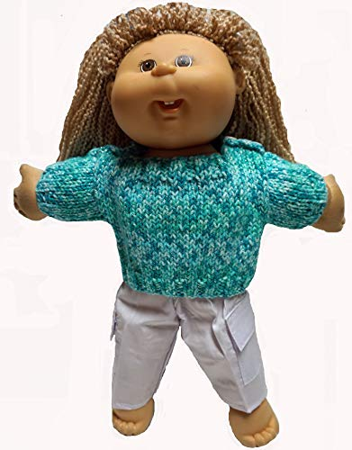(Doll Clothes Super store Green Tweed Hand Knit Sweater with Pants for Baby and Cabbage Patch Kid Dolls)