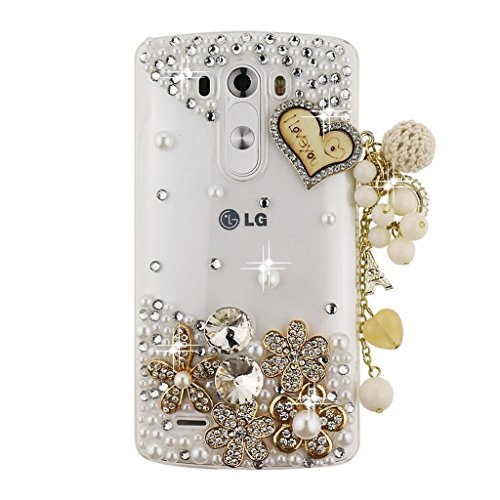 (LG G Stylo Case, Sense-TE Luxurious Crystal 3D Handmade Sparkle Diamond Rhinestone Cover with Retro Bowknot Anti Dust Plug - Heart Pendant Flowers / Gold)