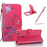 Strap Leather Case for Huawei P9 Lite,Portable Wallet Case for Huawei P9 Lite,Herzzer Bookstyle Retro Brilliant Butterfly Flower Pattern Stand Magnetic Smart Leather Case with Soft Inner for Huawei P9 Lite + 1 x Free Pink Cellphone Kickstand + 1 x Free Pink Stylus Pen - Hot Pink