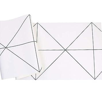 Amazon.com: Papel pintado geométrico blanco y negro para ...
