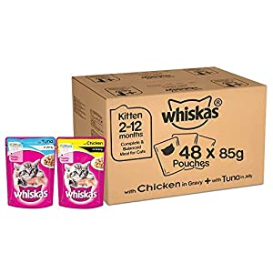 Whiskas Kitten Wet Cat Food Combo – Tuna in Jelly, 85g (24 Pouches) + Chicken in Gravy, 85g (24 Pouches)