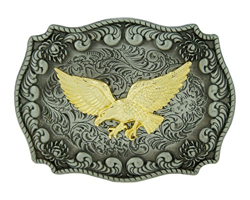 RIDE AWAY Antique Western Cowboy Silver Rodeo Gold Figured Belt Buckles (Soaring Eagle) (Eagle Buckle Ride)