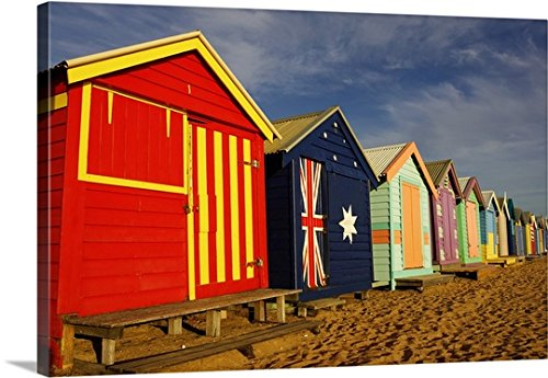 Gallery-Wrapped Canvas entitled Australia, Victoria, Melbourne, beach huts on Brighton Beach by Great BIG Canvas - Beach Huts Melbourne