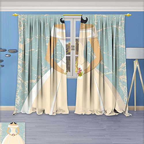 Nalahome Embossed Thermal Weaved Grommet Blackout Curtains Sketchy Design Backdrop Wedding Bride Dress Art and White Blocks up to 80% of Sunlight- Premium Draperies 120W x 84L ()