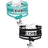 Mtlee 2 Pieces Horse Bracelet Bangle Handmade Leather Love Horse Charm Infinity Bracelet with Gift Box, Black and Blue