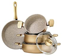 Hisar 7 Piece Aluminum Multigranit Neptun Cookware Set, Gold