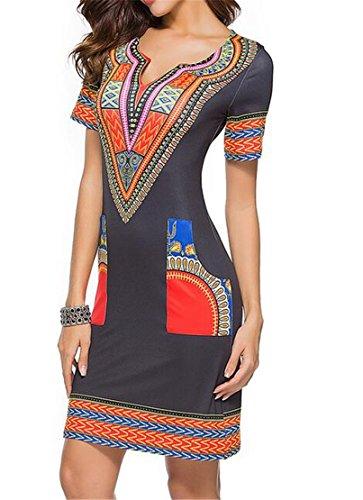 Womens Mini Dashiki Bodycon 3 Print African V Dress Domple Summer Neck Club AHq61d