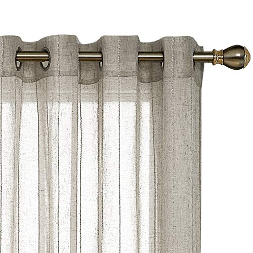Vertical Striped Linen - Deconovo Linen Look Vertical Stripe Grommet Top Sheer Volie Curtains for Bedroom 52 x 95 Inch Stripe Flaxen 2 Panels