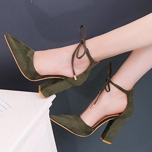 ZHUDJ Nude Señaló Los Zapatos De Tacón Alto con Gruesas Reposapiés Nude Señoras Suede Heel Shoes Sandalias Femeninas del Ejército,Verde,36 Thirty-six|Army green