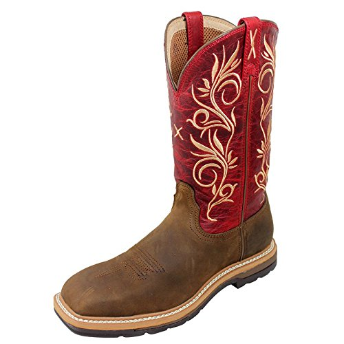 (Twisted X Ladies Red Lite Cowboy Work Boots 8)