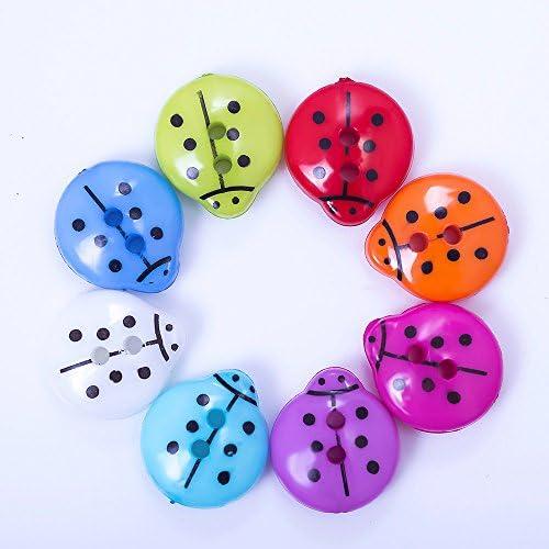 Chytaii 100x Boutons de V/êtement Accessoires D/écoration de Couture Multicolore en R/ésine Forme de Coccinelle avec 2 Trous /à Coudre