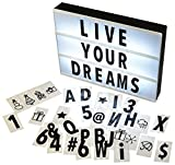Gadgy  Cinema LightBox A4 | 96 Black Letters Numbers Symbols Included | Size 30x22x4.5 cm | Battery Powered with Adapter Connection | Vintage LED Marquee Message Sign Decoration