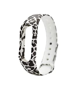 Safeseed Waterproof Wrist Band Printed Strap for Xiaomi MI Band 3 Smart Activity Tracker -Printed Pattern(Only Strap - Chip not Included) (Leopard White)