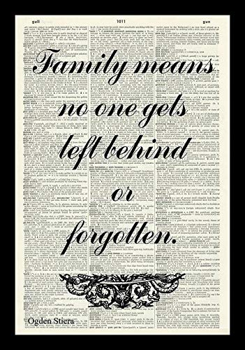 Family Means No One Gets Left Behind Or Forgotten Art Print-FAMILY ART PRINT-INSPIRATIONAL QUOTE-LILO & STITCH-QUOTE PRINT-LITERATURE ART PRINT-Vintage Art Print-BOOK ART PRINT A4 12x8 inches
