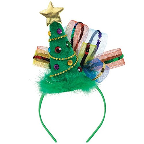 [Christmas Tree Fashion Headband 20cm x 20cm, Green] (Lady Santa Outfit)