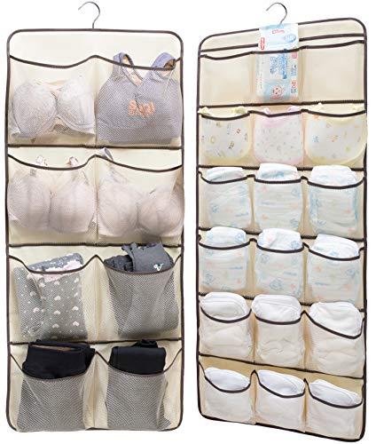 Sleeping Lamb Dual-Sided Hanging Closet Organizer for Underwear, Stocking, Toiletries Accessories, Bra, Sock, 26 Mesh Pockets & Rotating Metal Hanger, Beige (Pantyhose Accessories)