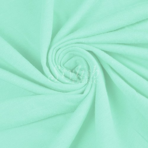 Green Mint Cotton Lycra Jersey Knit Fabric Combed 7oz - 1 Yard