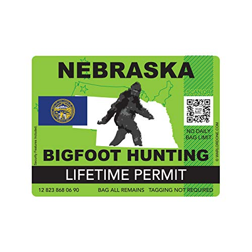 fagraphix Nebraska Bigfoot Hunting Permit Sticker Die Cut Decal Sasquatch Lifetime FA Vinyl - 4.00 Wide