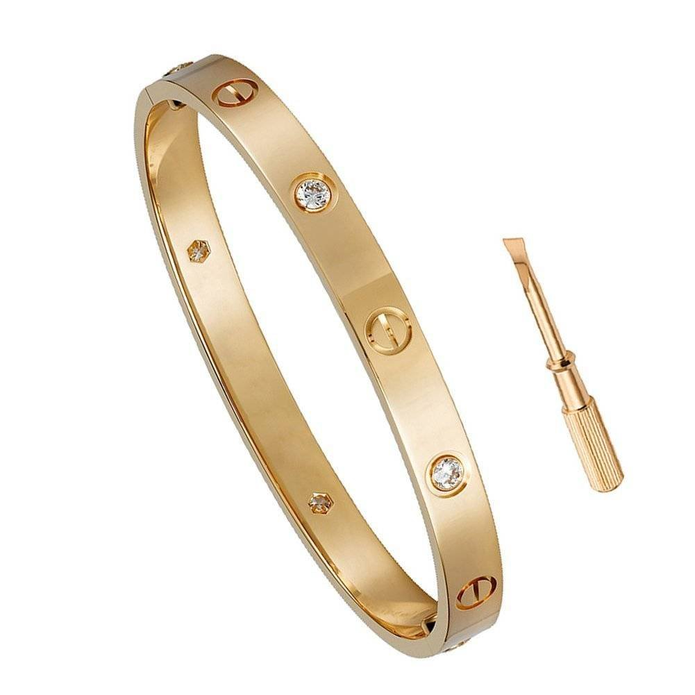FHMZ Birthday Gift for Her Love Bracelet- Titanium Steel Screw Hinged Cuff Bangle Bracelet Rose Gold w/CZ Stone 6.5IN