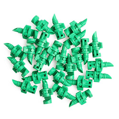 Wrisky Lot 25Pcs Sprayer Nozzle Jet Mister Cloning Machine Hydroponic 90°/180°/360° (Green(180°spray head ))