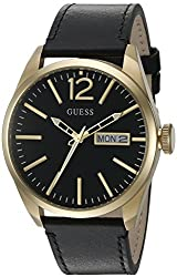 GUESS Men's U0658G5 Trendy Gold-Tone Stainless Steel Watch with Day & Date Dial and Black Strap Buckle
