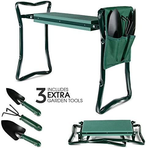 Upgraded Garden Kneeler Seat Garden Stools Portable Stool with 4 Extra Free Tools EVA Foam Pad Outdoor Foldable Sturdy Gardening Tools for Gardeners