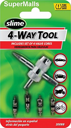 Slime 20088 4-Way Valve Tool with 4 Valve Cores (Valve Puller Stem)