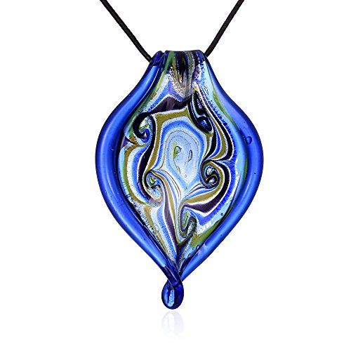 Murano Inspired Glass Cobalt Blue, Green, Gold, Black and Yellow swirls - Twisted Leaf Necklace Pendant