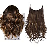 SARLA Highlights Halo Hair Extensions Long Wavy Curly Synthetic Hair Piece for Women Adjustable Size Transparent Wire Headband Heat Friendly Fiber 22 Inch 5.3 Oz No Clip