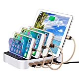 USB Charging Station,Miya Universal 4 Port Desktop Docking Organizer Hub for Apple Watch and iPhone and Airpods, Miya Detchable Charge Simultaneously Multi Port USB Charger Hub Stand Holder,Silver