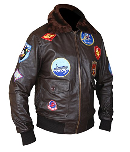 Top Gun Leather Jacket Costume (F&H Men's Top Gun Pete Maverick Tom Cruise Flight Bomber Jacket L Brown)