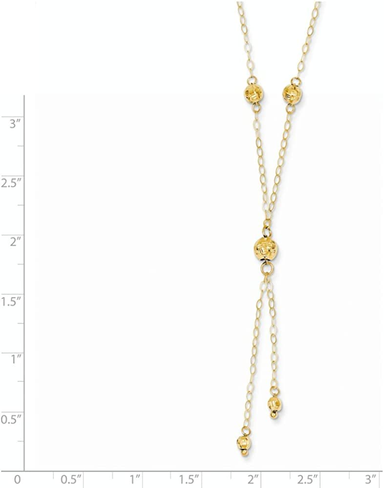 Jewelry Necklaces Fancy Necklaces 14k Yellow Gold Bead Lariat with 2in ext Necklace
