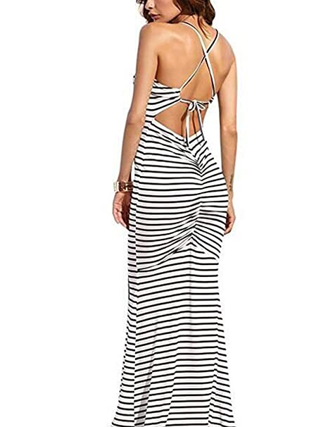 f3b25d242c Hioinieiy Women s Striped Mermaid Bodycon Maxi Dress Srunch Ruched Butt  Lifting Backless Tight Long Dresses at Amazon Women s Clothing store