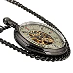 Carrie Hughes Men's Open face Bronze Steampunk Gold Skeleton Mechanical Pocket Watch with Chain Best Gift 14