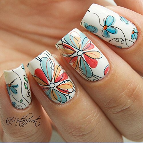 1 Sheet BORN PRETTY Nail Sticker Cute Flower Pattern Nail Art Water Decals Nail Transfer Stickers BP-W17 (Pretty Lights Grinder compare prices)
