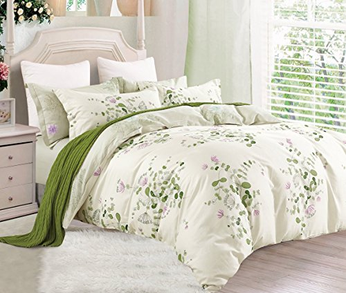 Swanson Beddings Graceful and Reversible Floral Print 3-Piece 100% Cotton Bedding Set: Duvet Cover and Two Pillow Shams (Cream-Green, - Green Floral Blanket