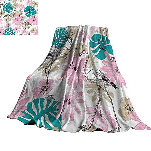 "Nautical Decor Collection Home Throw Blanket Flamingo and Flowers Exotic Garden Birds Animal Blooms Leaves Pattern 50"" Wx70 L Dark Turquoise Pink from WinfreyDecor"