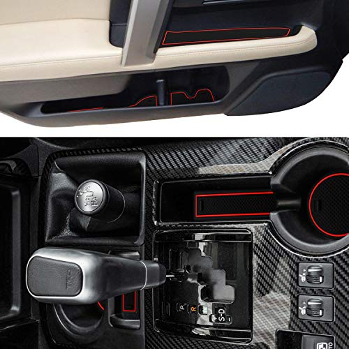 SENSHINE Cup Liner Door Mat for Toyota 4Runner 2019 2018 2017 2016 2015 to 2010 Center Console Liner Insert Accessories Kit Custom Fit(2 Row, Red Trim)