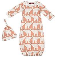 Milkbarn Newborn Gown and Hat Set - Rose Elephant