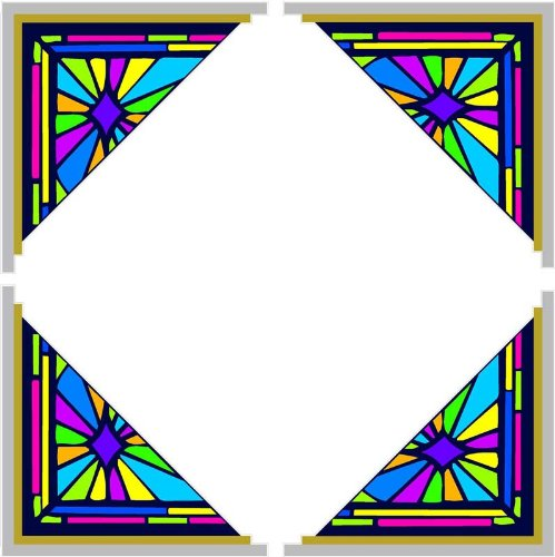 4 Corner Images - Triangular Stained Glass Corners - Etched Vinyl Film, Static Cling Window ()