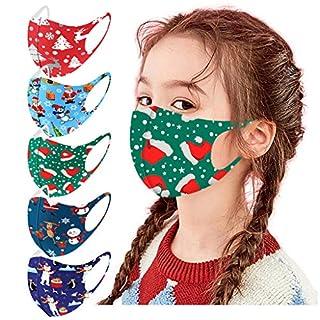 5 PC Christmas Reusable Vintage Unisex Kids Face Bandanas Washable Breathable Seamless Cute Print Child School Supplies