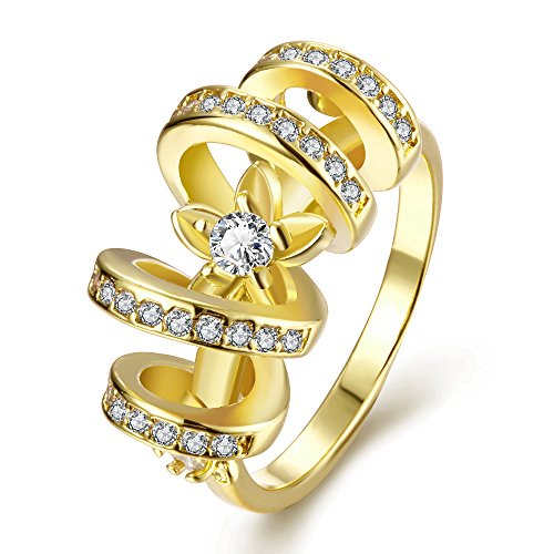 Old Person Couple Costume (Women's New Exquisite Fashion Jewelry Hot Sale Gold Pattern Zircon Wedding Ring)