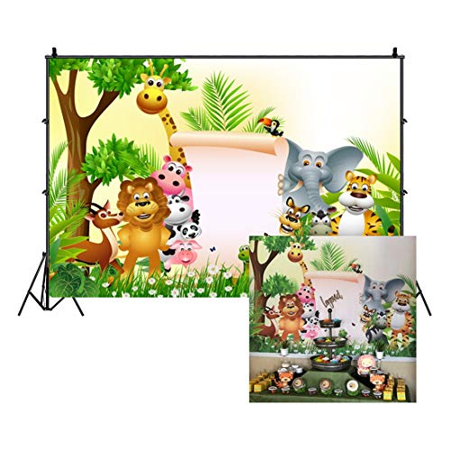 LFEEY 5x3ft Custom Safari Park Photo Background Kids 1st 2nd 3rd Birthday Party Baby Shower Decor Wallpaper Cartoon Zoo Forest Jungle Wild Animals Customizable Backdrop Photo Studio Props (Zoo Background)