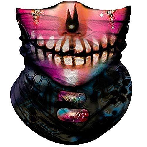 Skull Face Mask for Women Men Dust Wind UV Sun Protection Seamless Bandana Face Mask for Rave Festival Motorcycle Riding Biker Fishing Hunting Outdoor Running 3D Tube Mask (Women Pink Purple Face)
