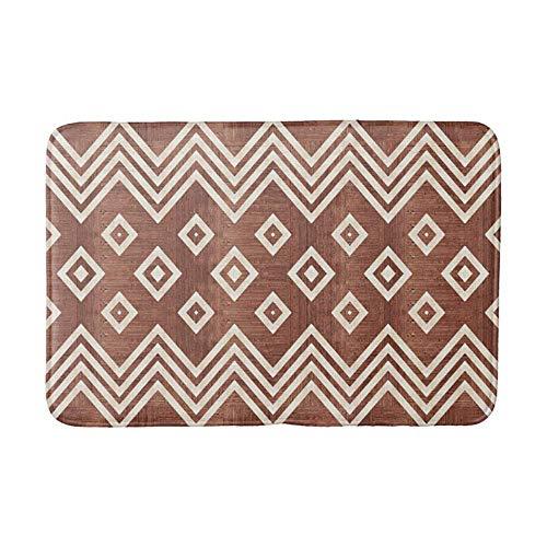(Zig Zag Teak Wood Pattern Doormat Bath Door Mat 16 x 24 inch)